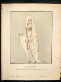 Gazette du Bon Ton by Fabius 1914 Art Deco Pochoir. Sophonisbe